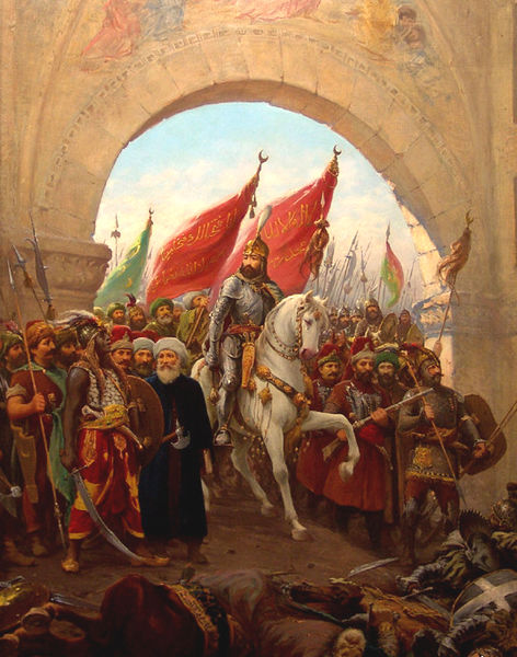 Mehmed entering Constantinople. Painting by Fausto Zonaro.
