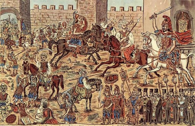 Constantine XI leading the defence of the city, by the Greek folk artist Theophilos.