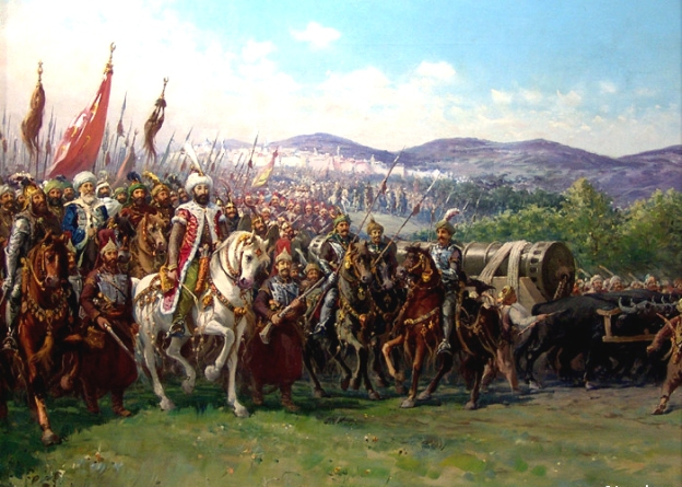 Mehmed and his army, with one of Orban's cannons. Painting by Fausto Zonaro