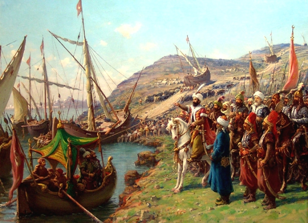 Mehmed directing his ships to be portaged. Painting by Fausto Zonaro.