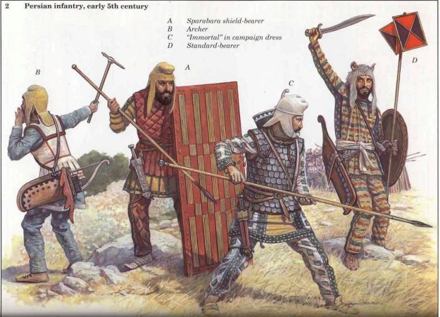 Persian warriors of around this time period. Illustration by Richard Scollins