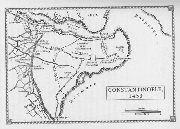 Constantinople. Note the chain across the bay marked in the northeast of the city.