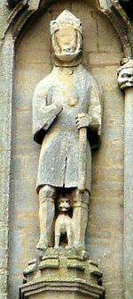 Statue of Waltheof, sadly defaced. Source: Wikimedia Commons