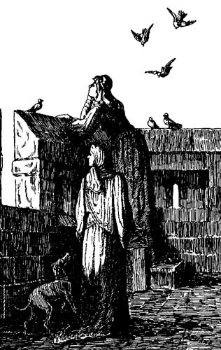 Emma defending Norwich Castle.Woodcut from The Siege of Norwich Castle
