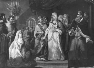 The Empress hears Queen Matilda's plea for Stephen's release.