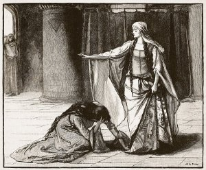 A popular subject for drawings of the period is Queen Matilda appealing to Empress Matilda to release her husband. This drawing comes from Peter Cassell's Reign of Stephen