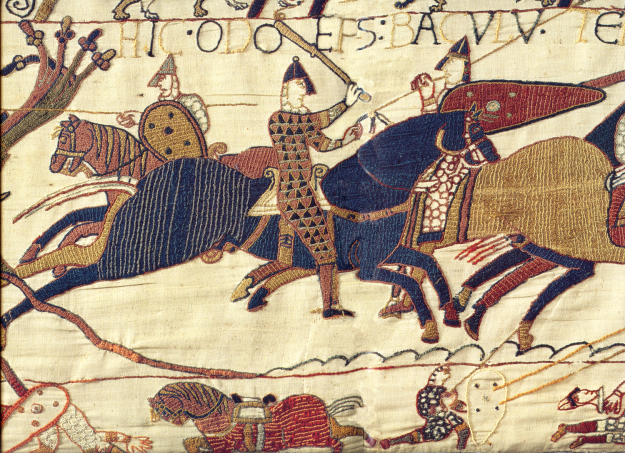 Odo on the Bayeux Tapestry, recognisable by his famous club. Source: Wikimedia Commons