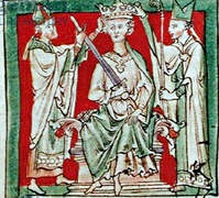 13th century drawing of Stephen's coronation. Source: Wikimedia Commons.