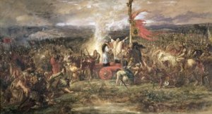 The Battle of the Standard, 22nd August 1138. Painting by Sir John Gilbert.