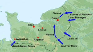 Henry the Younger's plan of attack on Normandy. Picture via Wikimedia Commons
