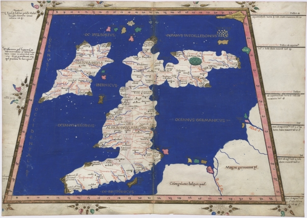 A recreation of Ptolemy's map made in 1467, showing the British Isles. Photo via Wikimedia Commons.