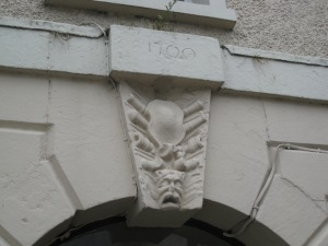 The keystone above the entrance of the old barracks.