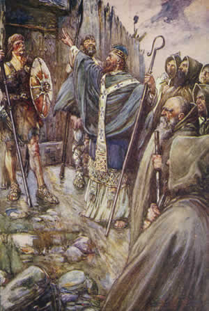 Columcille, later in life, confronting the guards at a Pictish fortress. Picture via Wikimedia Commons