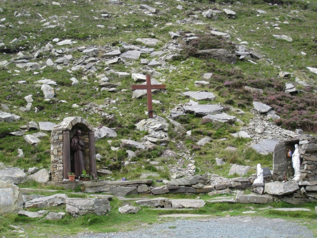 A better view of the shrine, with the loose stone that was used to block the pass on display.