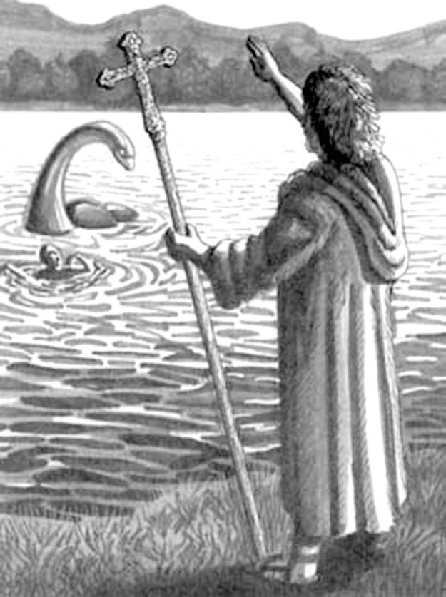 Saint Columcille driving the Loch Ness monster away from one of his monks.