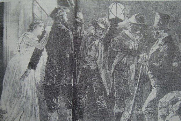 A contemporary newspaper drawing of a group of Ribbonmen.