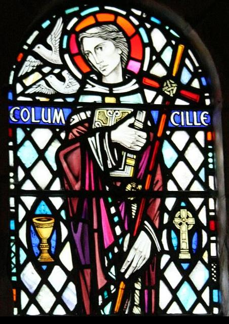 Stained glass window of Columcille at Iona Abbey. Picture via Wikimedia Commons