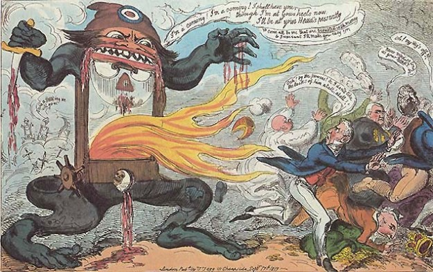 A contemporary cartoon shows the fear that the French Revolution inspired in British aristocrats.