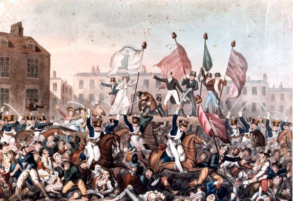 The Peterloo Massacre, by Richard Carlile. Image via Wikimedia Commons.