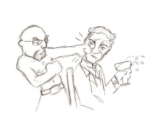 The source for the thumbnail on this site - a drawing by Robert Brockway of me punching Henry Ford. This year has made me feel as awesome as this picture looks.