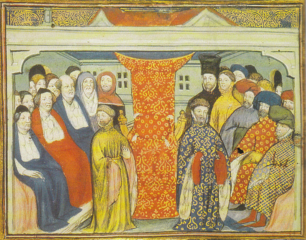Henry claims the throne. Illustration from a contemporary manuscript.