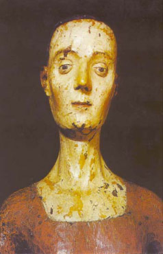 The effigy of Catherine of Valois in Westminster Cathedral. It is based off a death mask, a cast of her face made after death.
