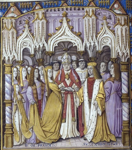 The marriage of Henry V and Catherine of Valois. Artist unknown, drawing from pre 1494.