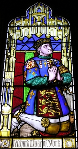 A stained glass window in St Laurence's church in Ludlow, depicting Richard of York.