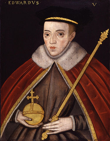 A 16th-century portrait of Edward V as King. In reality he would never have had the chance to hold the royal regalia.