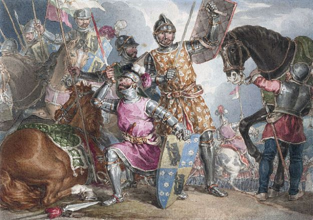 Warwick, Edward IV and Edward's younger brother Richard before the battle. Illustration from Henry IV part 3, by John Augustus Atkinson