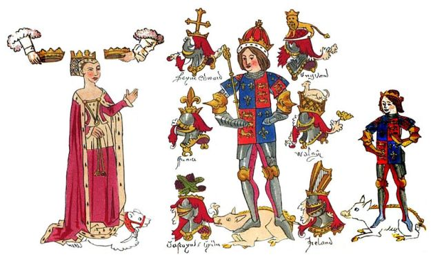Richard III, along with his wife and son, from a contemporary history by John Rous. Rous praised Richard when he was King, but after Richard's death he wrote a book describing him as a hunchback - an image that remains to this day.