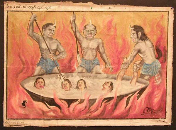 Ashoka's Hell is generally described in the legends as modelled after the Buddhist hells.