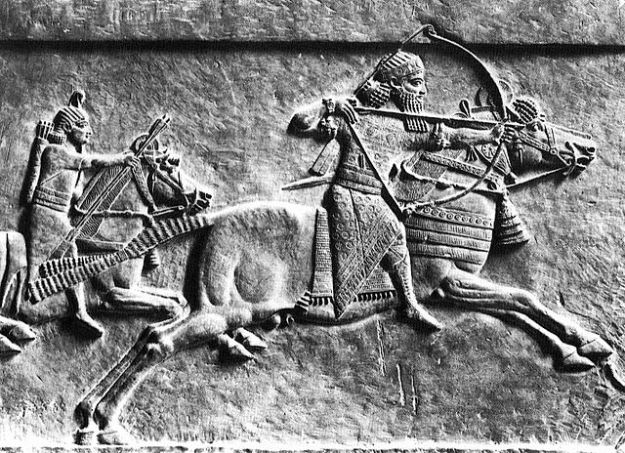 A relief of an Assyrian horse archer, possibly Assurbanipal.
