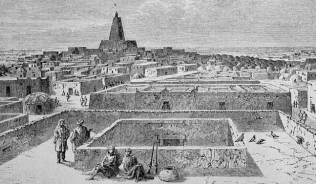 View of Timbuktu, by Dieudonné Lancelot based on a sketch by Heinrich Barth.