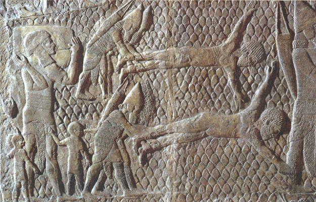 Israelite rebels are tortured, following the Siege of Lachish (as documented in the biblical books of Kings and Chronicles).