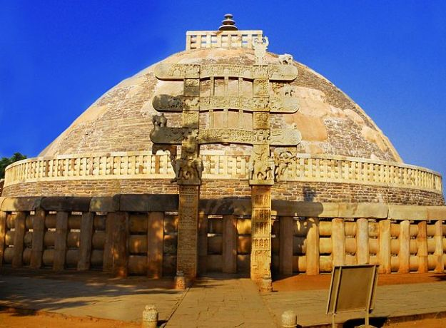 The Sanchi Stupa, the oldest surviving structure in India, was built by Ashoka the Great.