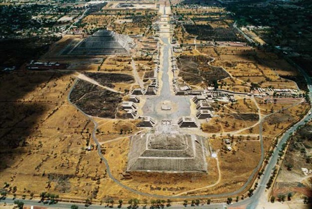 "An aerial view of the city. Teotihuacan is pronounced ""Tay-oh-tee-wha-KAHN""."
