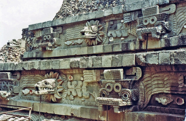 Detail from the Temple of the Feather Serpent. Known in other cultures as Quetzalcoatl, this god is probably the most familiar of Teothuacan's gods.