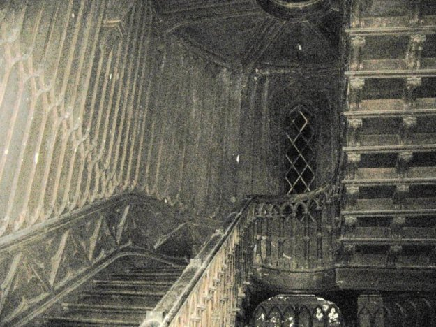 The stairway in the castle that is alleged to be the haunt of Harriet Bury.