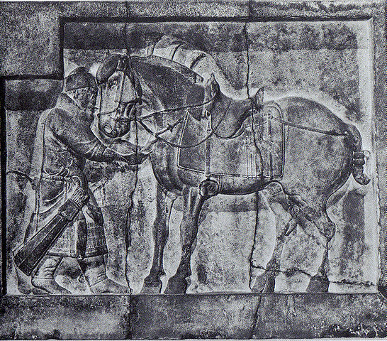 An engraving from Taizong's tomb, showing a Chinese cavalryman.