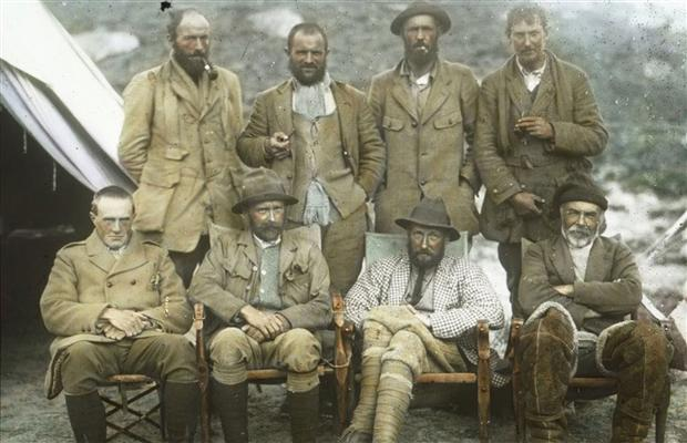 Colorized version of a 1921 photo showing the Everest team. Colonel Howard-Bury is the one in the check jacket.