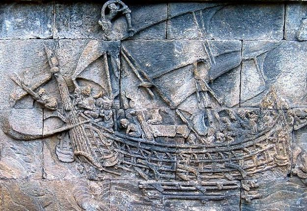 A carving showing a Srivijayan ship, from the great temple of Borobudur.