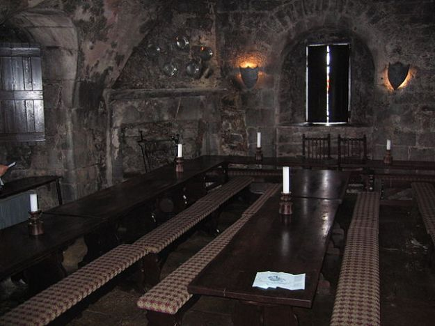 The restored banquet hall within the castle.