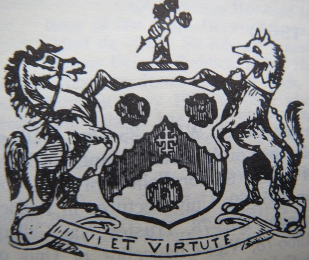 "The coat of arms taken by the Annaly family. ""Vi et Virtute"" means ""By Courage and Force""."