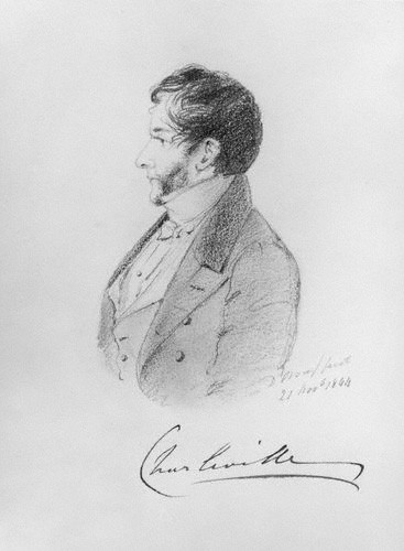 Sketch of Charles William Bury by Alfred, Count D'Orsay, pencil and chalk, 1844