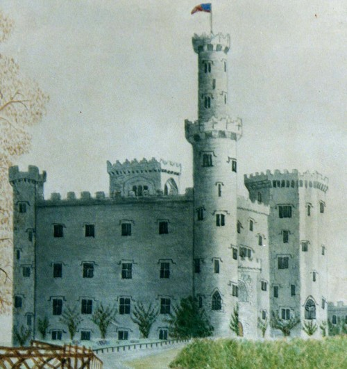 A painting of the castle from the 1870s