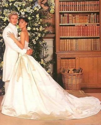 David and Victoria Beckham, who were married in the castle on the 4th July 1999.