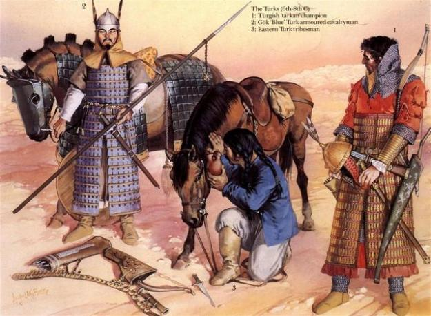Illustration showing the typical arms and equipment of the Turkic warriors. (Source unknown).