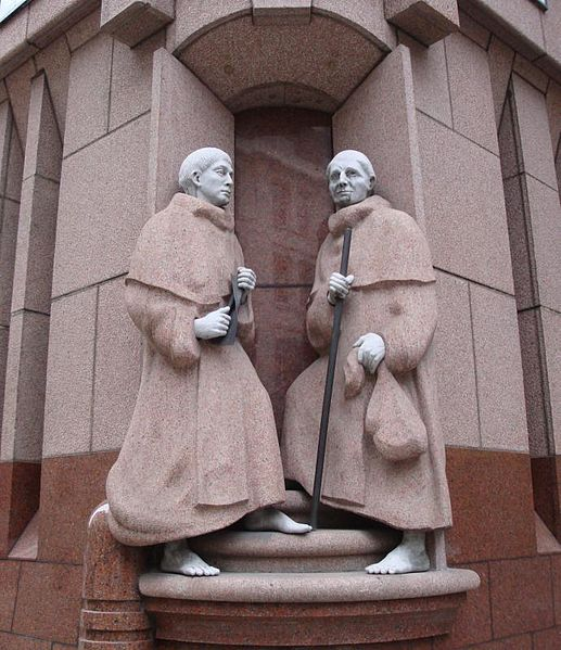 "Statue in London depicting two members of Fratres Cruciferi, or as the were known in English, the ""Crutched Friars""."