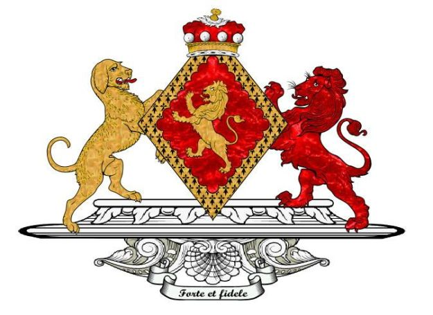 The coat of arms taken by the 1st Baroness Talbot. The lion is a traditional part of the Talbot family arms, both in Ireland and England, and actually originated as the royal arms of the Welsh House of Dinefwr, from whom the English Lord Talbots are descended.